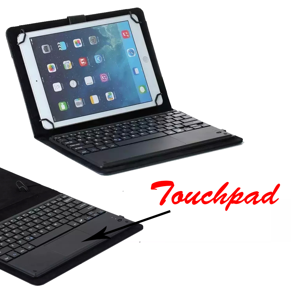 Universal Dechatable Bluetooth Keyboard w/ Touchpad & PU Leather Case Cover For Lenovo Tab 3 8 Tab3-850F/M Tab 2 A8-50F universal 61 key bluetooth keyboard w pu leather case for 7 8 tablet pc black