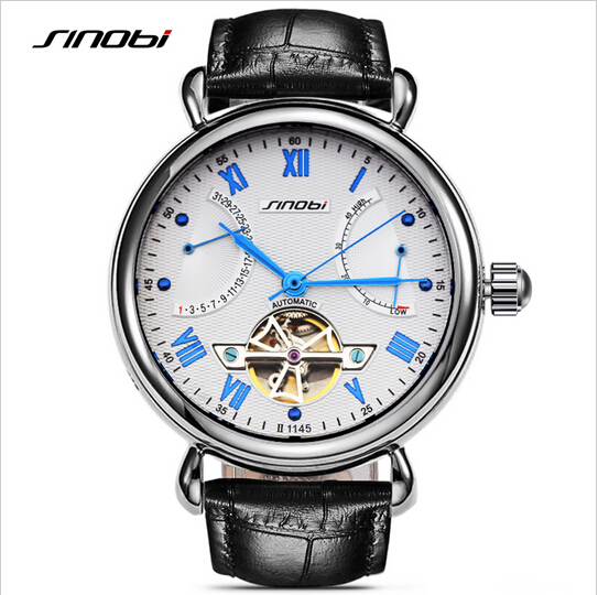 SINOBI Top Luxury Skeleton Watch Sapphire Crystal font b Mechanical b font Watch font b Men