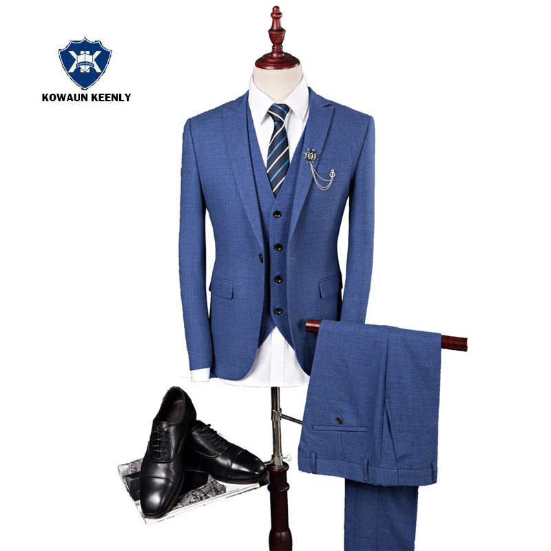 Single Button Royal Blue Wedding Suits for Men Slim Fit Formal Suit Dark Gray Business Dress 2017 Groom Tuxedo Jacket+Vest+Pants