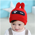 Cute Handmade Knitted Woolen Hats For Newborn Toddler Baby Rabbit Ear Print Spring Autumn Outdoor Warm Caps Beanies