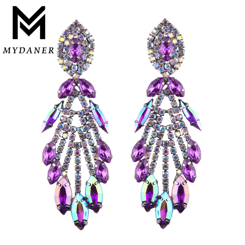 MYDANER New Arrival Luxury Crystal Long Dangle Earrings for Women Girls Holiday Gift Boho Tassel Statement Pendant Drop Earrings