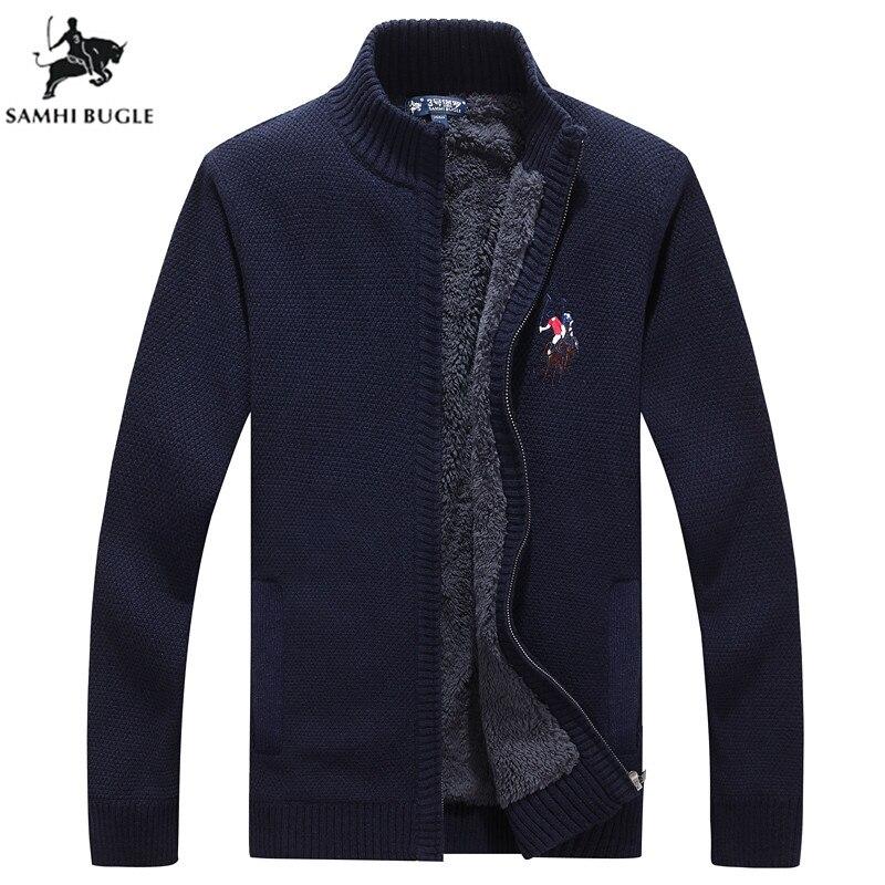 Pull Hommes 2018 Automne Hiver nouveauté Broderie Zip Cardigan Hommes Chandail de Mode col montant Chandails Pour Hommes