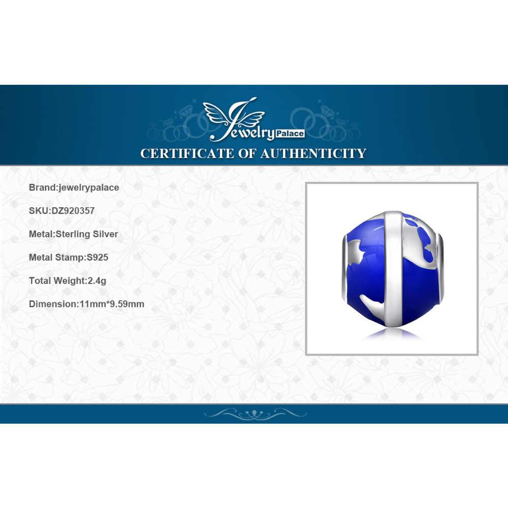JewelryPalace Großmutter Frauen Welt Globus Blau Emaille Karte Schöne Zarte 925 Sterling Silber Charm Bead Fit Armbänder