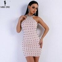 Missord 2018 Women Sexy Mini Dress Off Shoulder Halter Dresses Punk Rivet Tight Package Hip Party