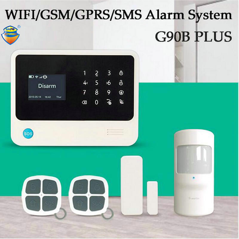 (1Set)Latest G90B PLUS WIFI SMS GSM Wireless Home Security Alarm System Support Android/IOS App control PIR detector Door Sensor marlboze wireless home security gsm wifi gprs alarm system ios android app remote control rfid card pir sensor door sensor kit