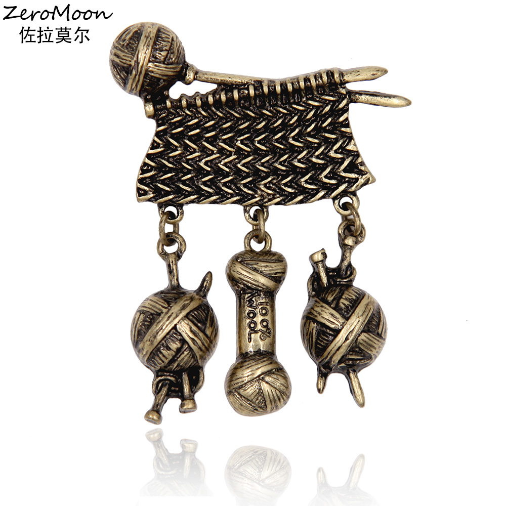 Antique Style Metal Sticka Tröja Ull Garn Ball Brosch Stift Man Suit Accessory Mothers Day Women Garment Fashion Vintage Smycken