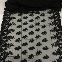 1Meter Black Cord African Lace Mesh Net Embroidery Fabric Sew Wedding Dress Robe 135CM