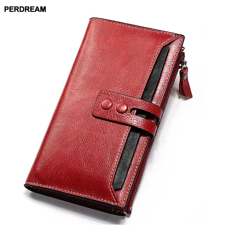 Long ladies cowhide wallet zipper buckle multi-card leather clip clutch bag wallet handbag female 2018 new 1 black pu leather ladies long section of ultra thin magnetic buckle multi card wallet wallet size about 19 9 5 2cm