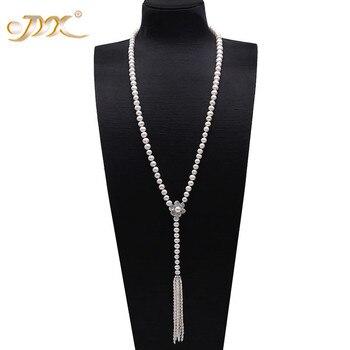 """JYX Elegante Perle Lange Halskette 8-9mm Flach Runde Weiße Kultivierte Süßwasser Perle Pullover Einstellung Halskette 37,5"""""""