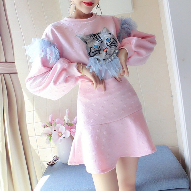 Spring Autumn New Lolita Style Cat Ruffles Pearls Loose Blouse Sweatshirts Hoody Top + Slim Skirt Party Skirts Suit NS10