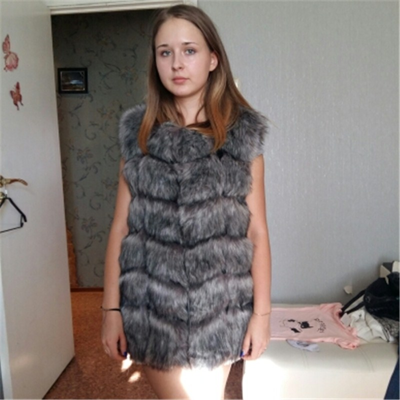 High quality Fur Vest coat Luxury Faux Fox Warm Women Coat Vests 2017 Winter Fashion furs Women's Coats Jacket Gilet Veste 4XL
