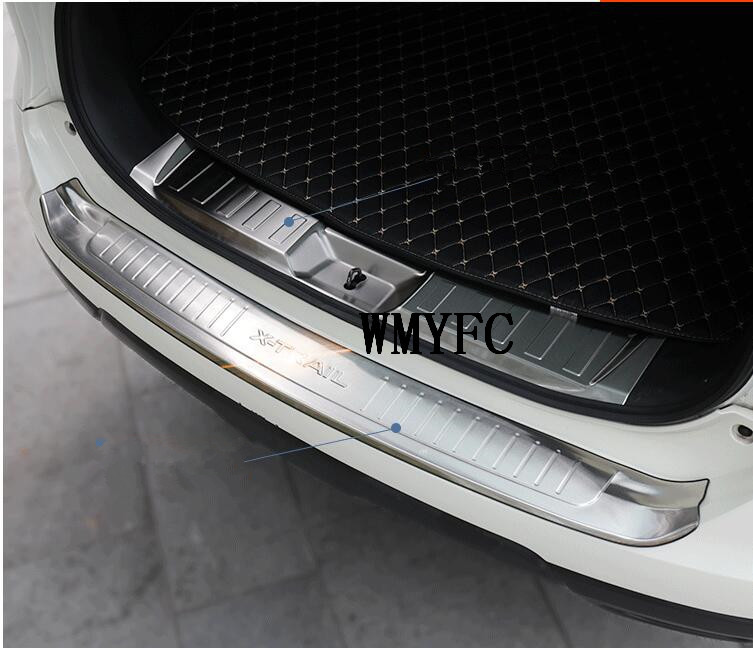 stainless steel Rear Bumper Protector Sill Trunk Guard Cover Trim For 2014 2015 2016 Nissan X-Trail T32 Rogue Car Accessories for nissan x trail t32 2014 2018 car rearguards stainless steel rear bumper trunk fender sill plate protector guard covers trim