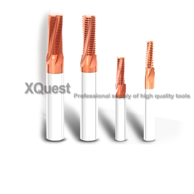 XQuest HRC60 Solide Carbure Filetage Fraisage M3 M4 M5 M6 M8 M10 M12 CNC Machine Spirale Fil Fin Fraise M6X0.75 M8X1 M10X1
