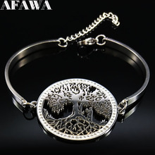 2021 Fashion Tree of Life Stainless Steel Crystal Bangles for Women Silver Color Bracelets & Bangles Jewelry pulsera B22S03