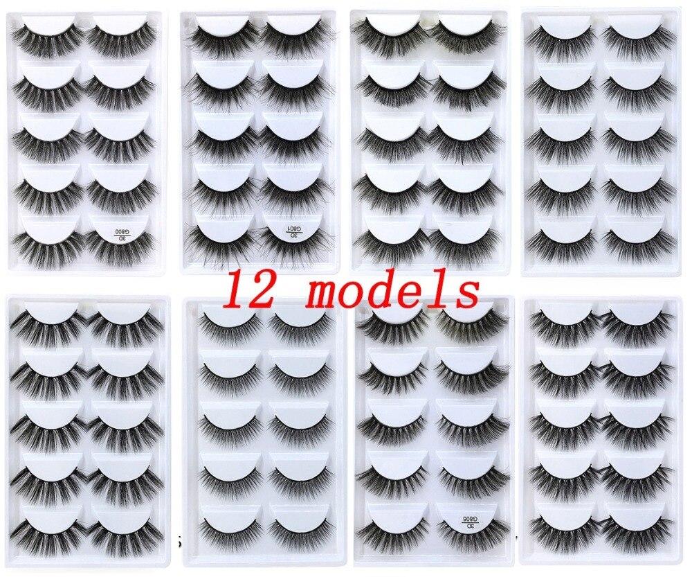 50 Boxes eyelashes 3d mink lashes natural long mink eyelashes 1cm 1 5cm 3d false eyelashes