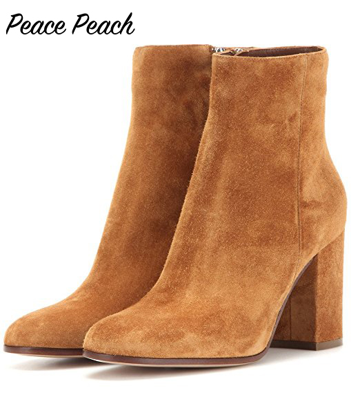cc5a91acd3 2017 New Women's Brown Suede Ankle Boots Block Heel Ankle Boots Pointy Toe  Boots Shoes Women Plus Size 4-15 Free Shipping Shoes