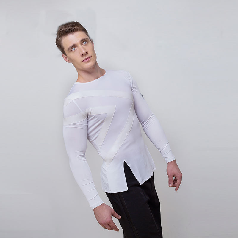 New High Quality White Men Men Latin Dance Tops Sale Cha Cha Rumba Long Sleeves Spandex Practice Shirt Stage Dancing Wear