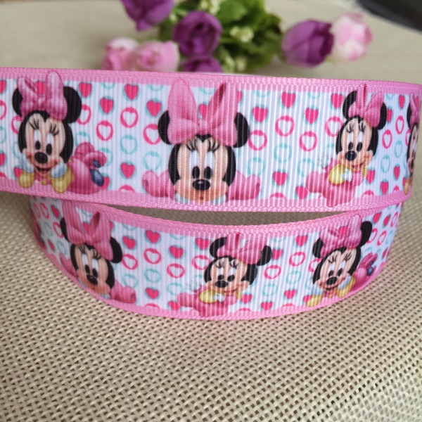 1 25MM new sales 5 yard Free shipping minnie baby shower printed grosgrain ribbon hairbow diy party decoration wholesale