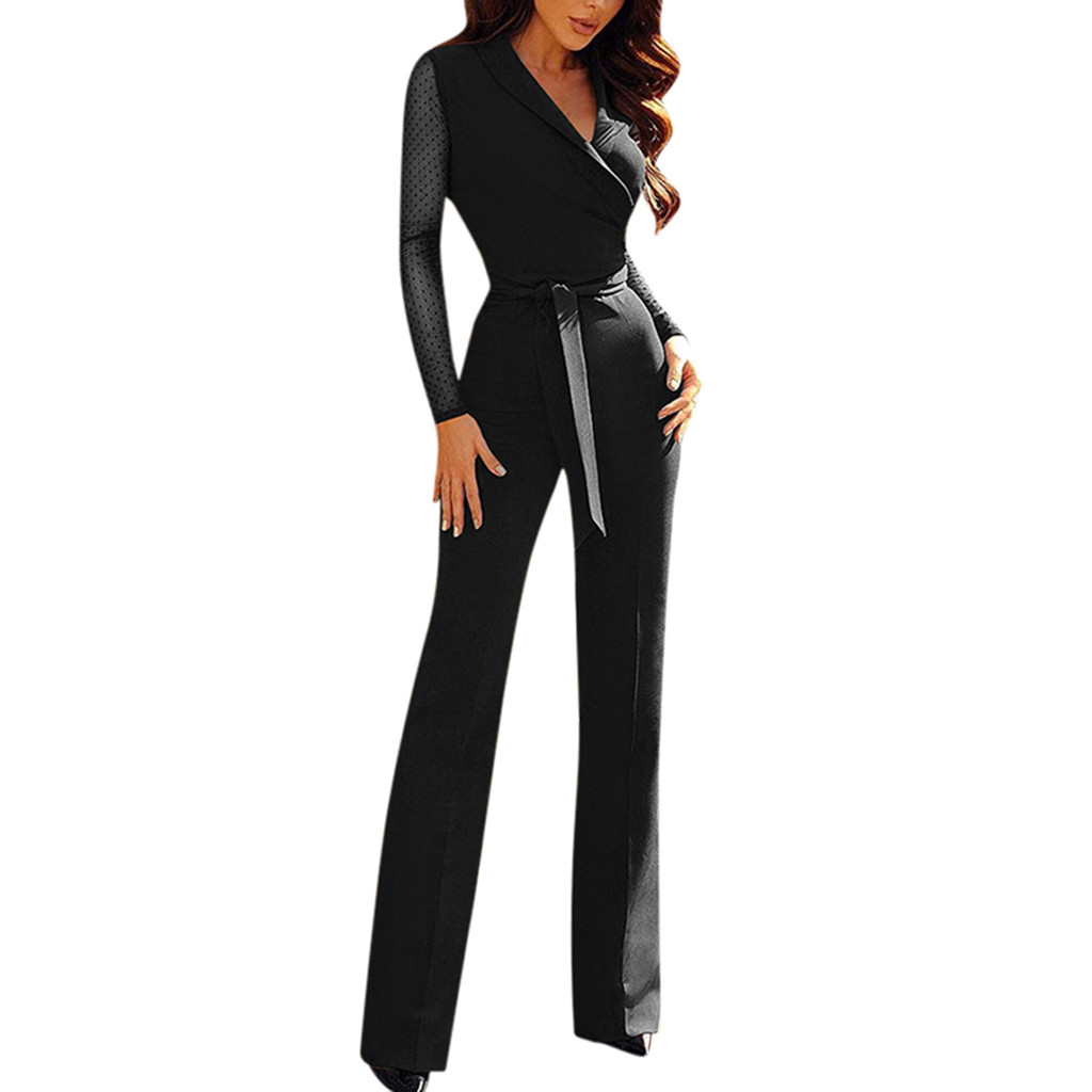 WomailWomen Ladies Casual V-Neck Long Sleeve   Jumpsuit   Playsuit Wide Leg Romper plus size sexy playsuit C300128