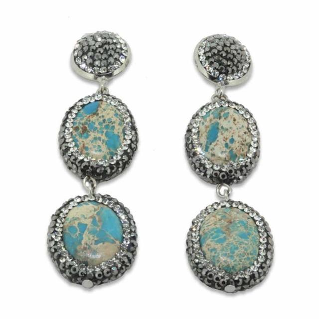 Natural de Pedra Ágata Druzy Cristal de Quartzo Brincos Longos Brincos de Strass Gota de Água Do Vintage para Mulheres Moda Jóias