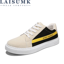 2019 LAISUMK Fashion Men Canvas Breathable Causal Shoes Superstar Lace Up Comfort Leisure Walking Flats