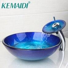 KEMAIDI AU ванная комната круглый синий закаленное стекло Овальный умывальник W/ORB Матовый кран комбинированная Раковина Набор+ всплывающий слив раковины