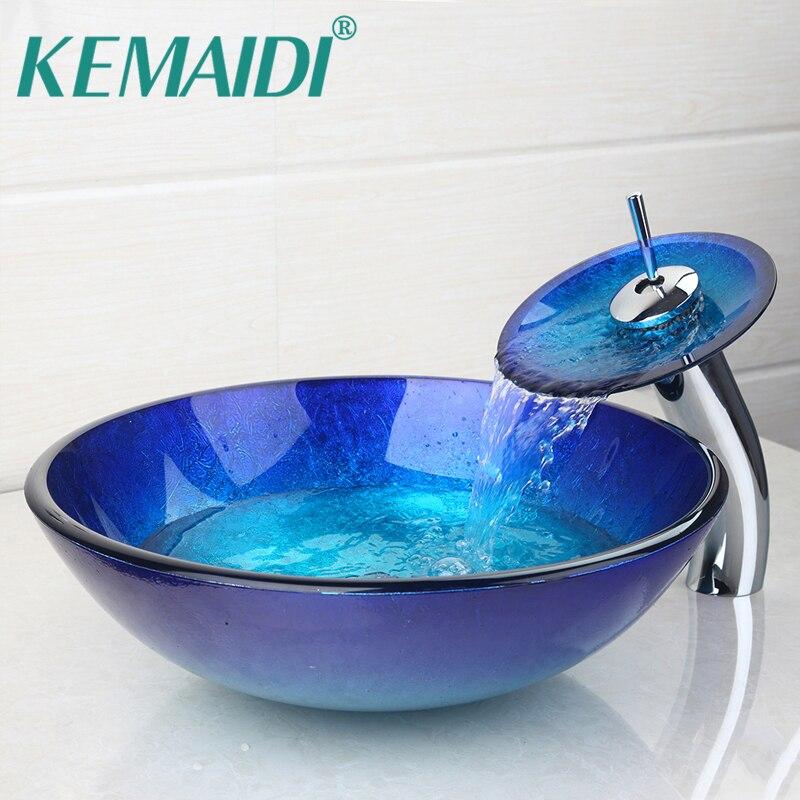 Kemaidi au banheiro redondo bule vidro temperado oval lavatório com orb escovado torneira da pia conjunto de combinação + pop up pia dreno