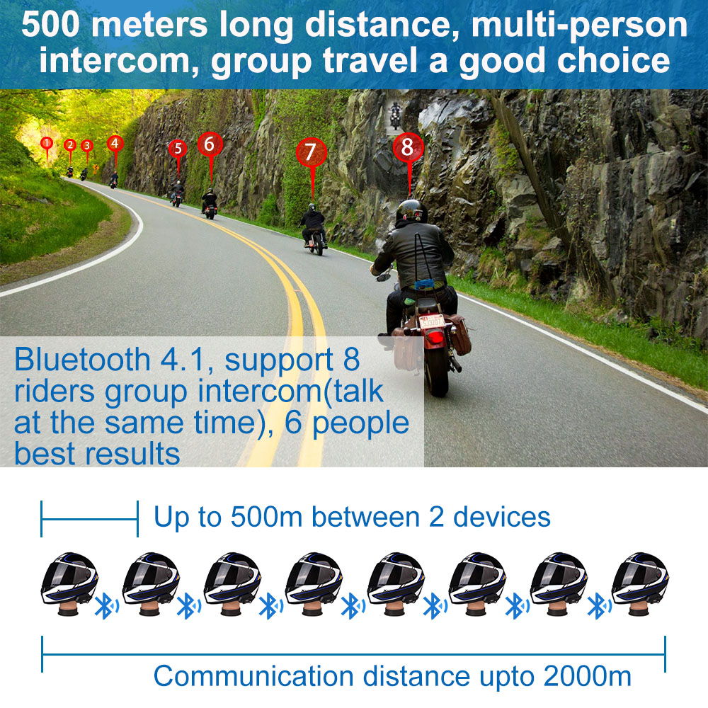 Image 2 - 2 pcs Fodsports BT Motorcycle Headset Helmet Intercom M1 S pro 8 Riders 2000m Group Talk Moto Bluetooth waterproof Interphone-in Helmet Headsets from Automobiles & Motorcycles