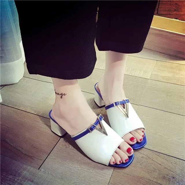 2016 Women Summer shoes white Black fashion platform PU sandals women's high-heeled thick heel VF08ER2