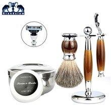 Grandslam férfi borotválkozó szett Mach3 borotva biztonsági borotva borotválkozó szakáll Borotválkozó borotva kefe tartó borbély borotva tál bögre szappan készlet