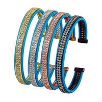 Cubic Zirconia Bangles 2017 Luxury Brand Men Hand Bracelet CZ Beads Copper Crystal Rhinestone Blue Leather Cuff Bangle Homme