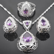 Bridal jewelry Purple Zirconia Women's 925 Silver Jewelry Sets Crystal Earrings/Pendant/Necklace/Rings Free Gift Box QZ0210(China)