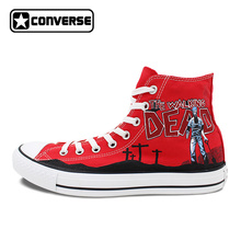 Hand Painted Shoes Women Men Red Converse All Star Walking Dead Zombies Design Custom High Top