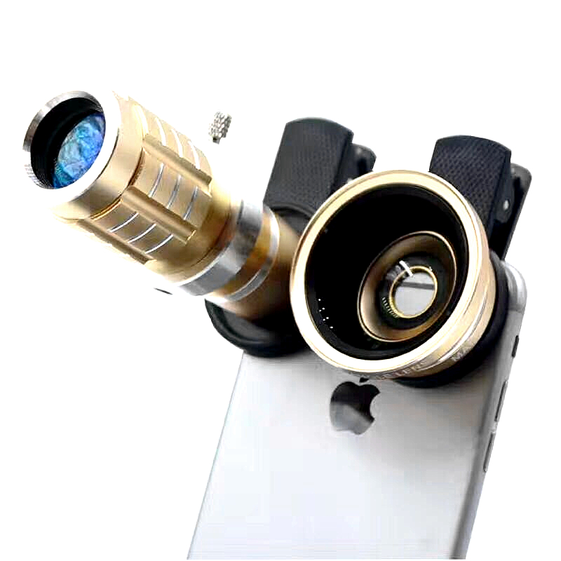 HD 3 in 1 Mobile Phone Lens 12x Zoom Optical Telephoto Lens + 0.45X Wide Angle + Macro lens With Tripod for Phone Iphone 5 6 7