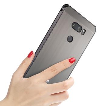 ZEALLION para LG V30 V30 Plus funda 2 en 1 marco de Metal delgado de aluminio cepillado cubierta trasera de protección