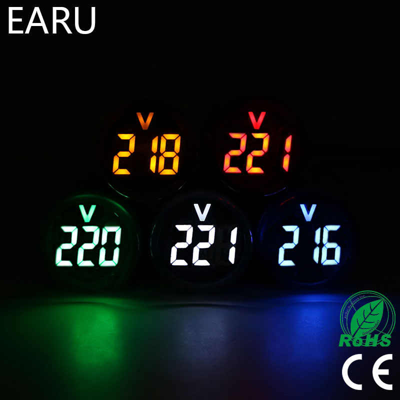 Mini voltímetro digital, voltímetro digital 22mm ac 12-500v voltímetro medidor de tensão monitor potência indicador led lâmpada do piloto exibe luz