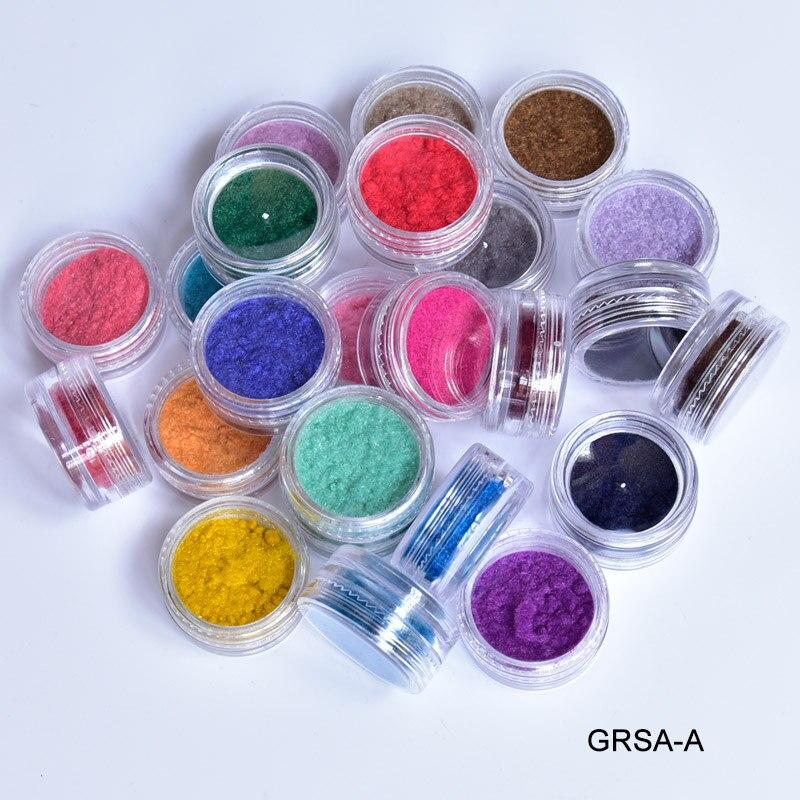 GRSA 24Boxes 3D Flocking Velvet Powder Villus Powder for Nail Art Free Shipping Wholesale fashion 24colors Velvet Powder in Nail Glitter from Beauty Health