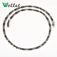 Wollet Jewelry Christmas Gift Health Women 5MM Black Ceramics 316L Stainless Steel Necklace Hematite Germanium 2