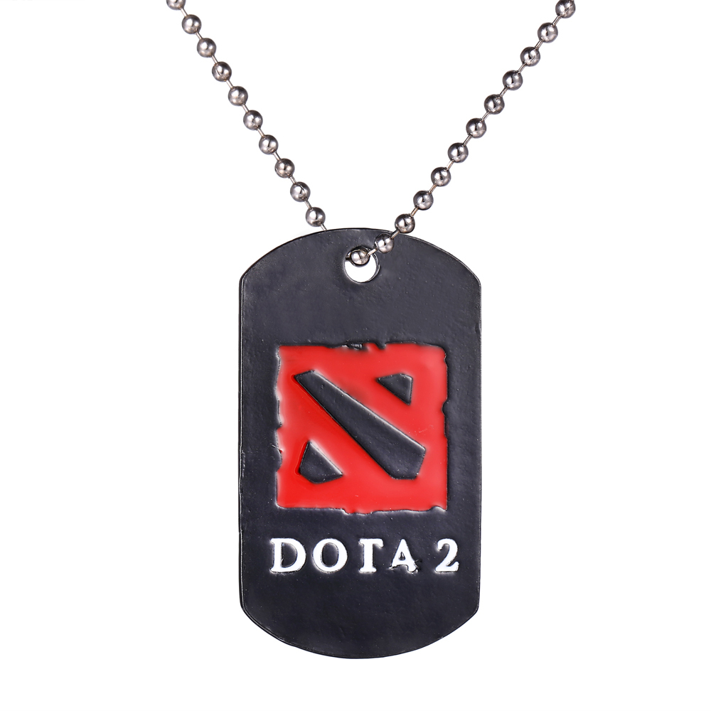 HSIC Dota 2 Metal Necklace logo Pendant Vintage Online Game Jewelry For Men
