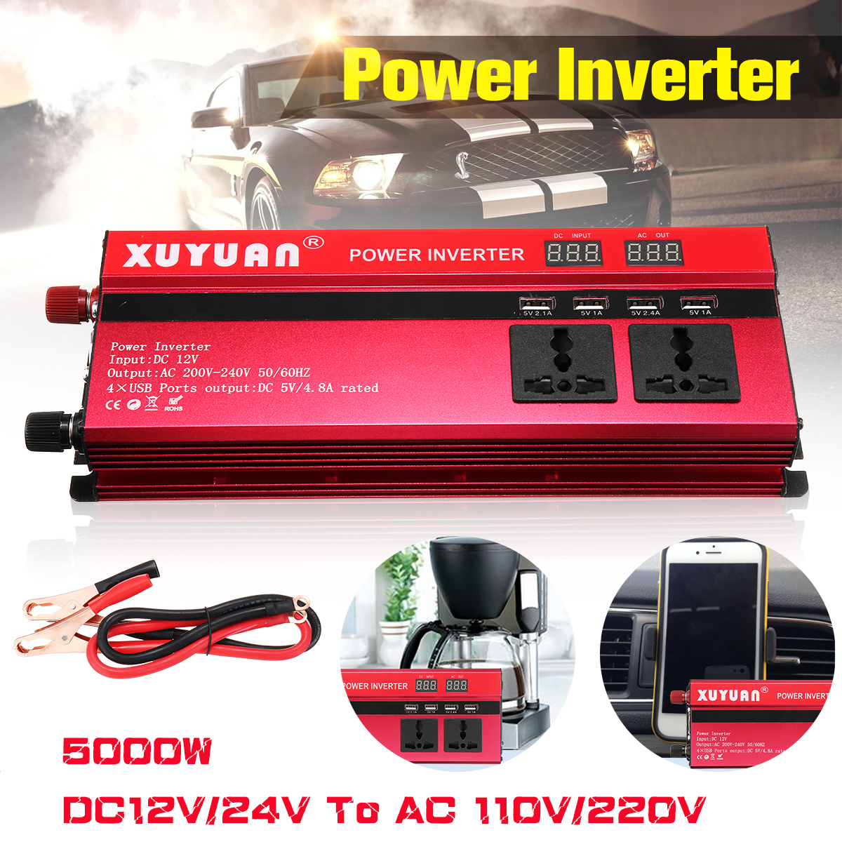 Inverter 12V 220V 5000W 4000W 3000W Peak Power Voltage Transformer Converter 12V To 220V DC-AC Solar Sine Wave Inverter original iscg03 mrg g2 32t 36t speed hollow cnc aluminum alloy mtb bicycle chain guide guidance position protector