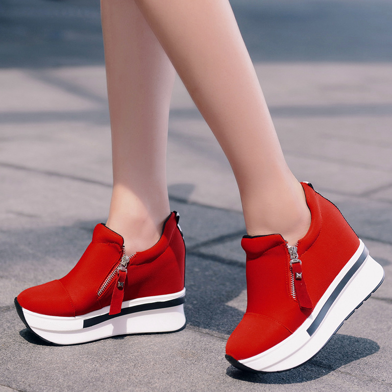 SWYIVY Canvas Shoes Sneakers Woman Wedge Autumn Fall New Solid Color Female Casual Shoes Comfortable Platform Sneakers Slip On