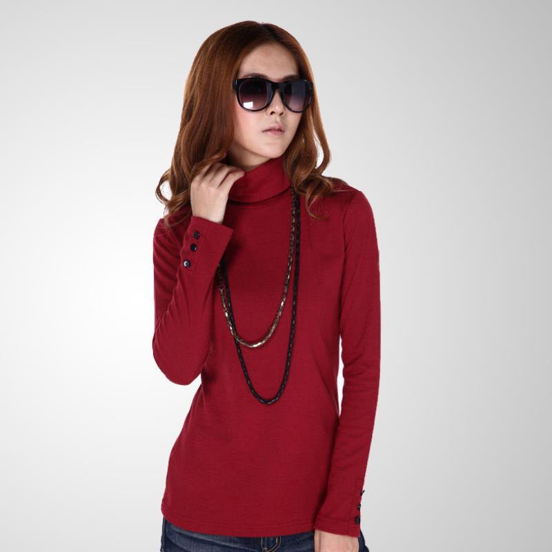Pop femmes automne hiver Stretch pull en laine à col haut pull en tricot à manches longues coton bouton épais chandail