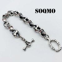 SOQMO Punk Skull Charm Bracelet 100% Real 925 Sterling Silver Jewelry Men Women Inlaid natural stone Chain Bracelet Bangle 2018