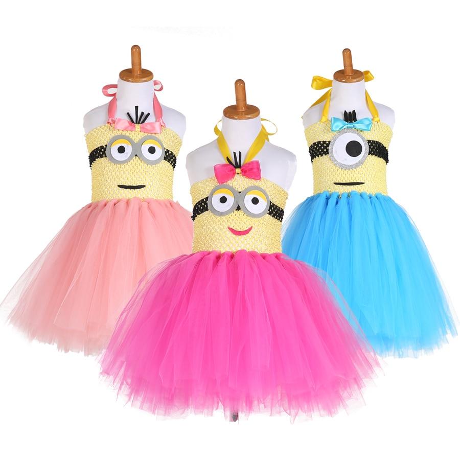 2017 new arrival cartoon tutu dress kids minion costume