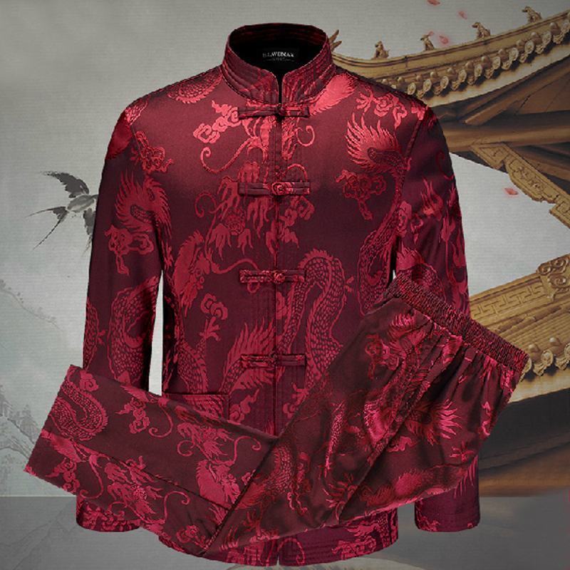 Brand New Autumn Winter Chinese Traditional Two-Double Men's Long Sleeve Kung-Fu Suits Sets Dragon M L XL XXL 3XL WNS201506