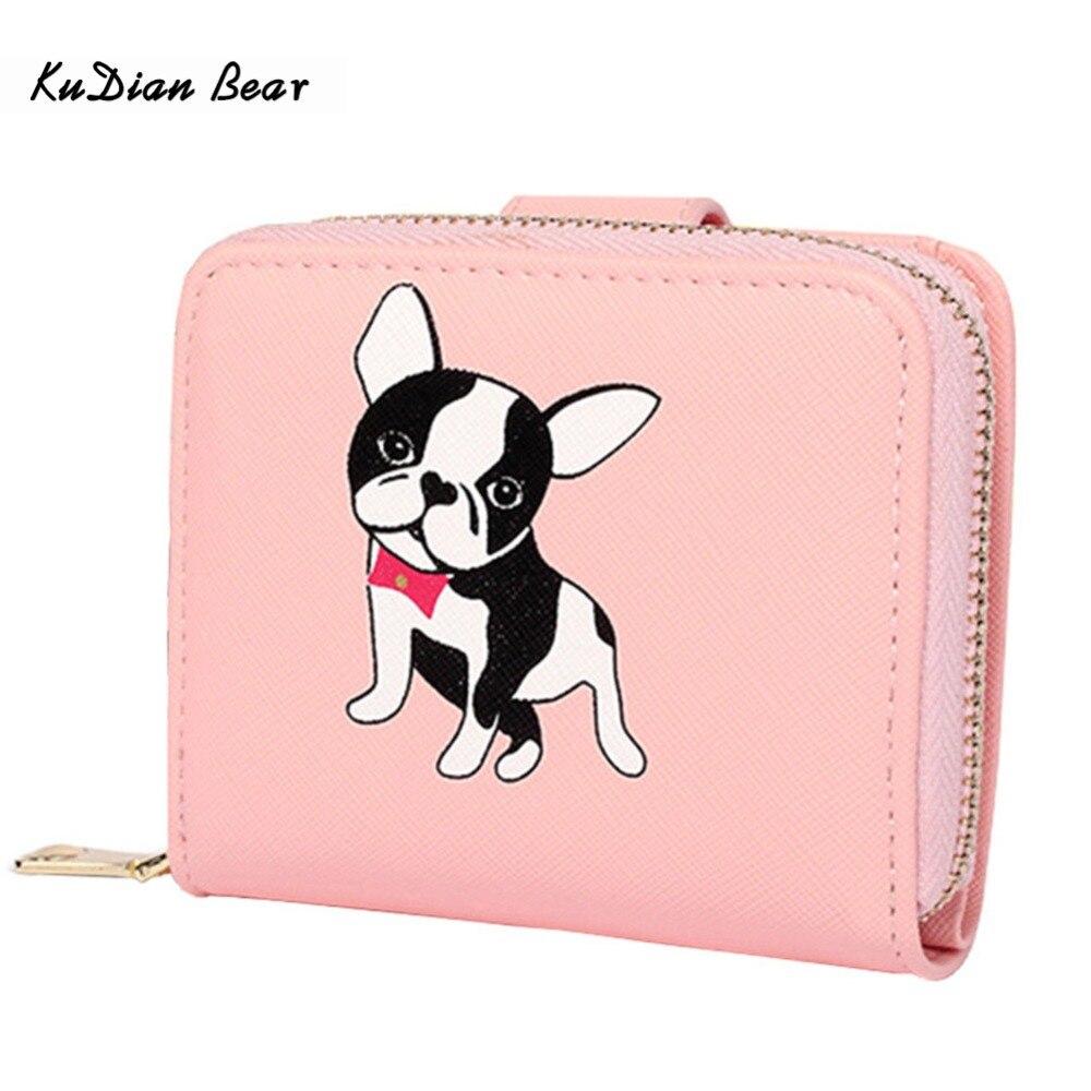 KUDIAN BEAR Жіночі гаманці Милий маленький гаманець коробки собаки короткий гаманець з блискавкою навколо дами тримач картки зчеплення - BIC095 PM49