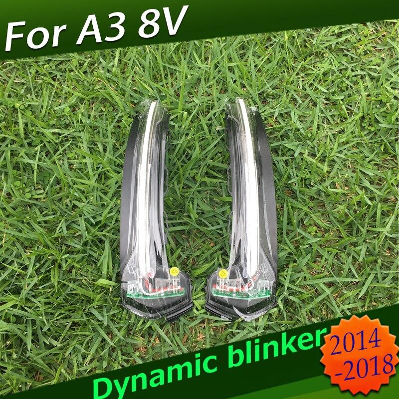 Para Audi A3 8V S3 RS3 S linha Cristal Dinâmica Turing Lâmpada Espelho Lateral Turn Signal Indicator blinker 2013 2014 2015 2016 2017 2018