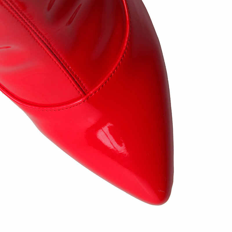 NEMAONE Saltos Altos Sensuais Na Altura Do Joelho Botas de Cano alto Vermelho Sapatos De Salto Alto Botas de Cavaleiro Botas de Couro PU Mulheres Pólo Boate Dançando
