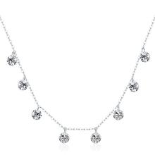 BAMOER Real 925 Sterling Silver Dazzling sześcienny cyrkon okrągły krąg CZ wisiorek naszyjniki dla kobiet Sterling Silver Jewelry SCN299 tanie tanio Moda Necklaces Srebrny Klasyczny Link Chain ----------------- Stava Pendant Necklaces Okrągłe Cubic Zirconia Rocznica zaangażowanie prezent Impreza ślub