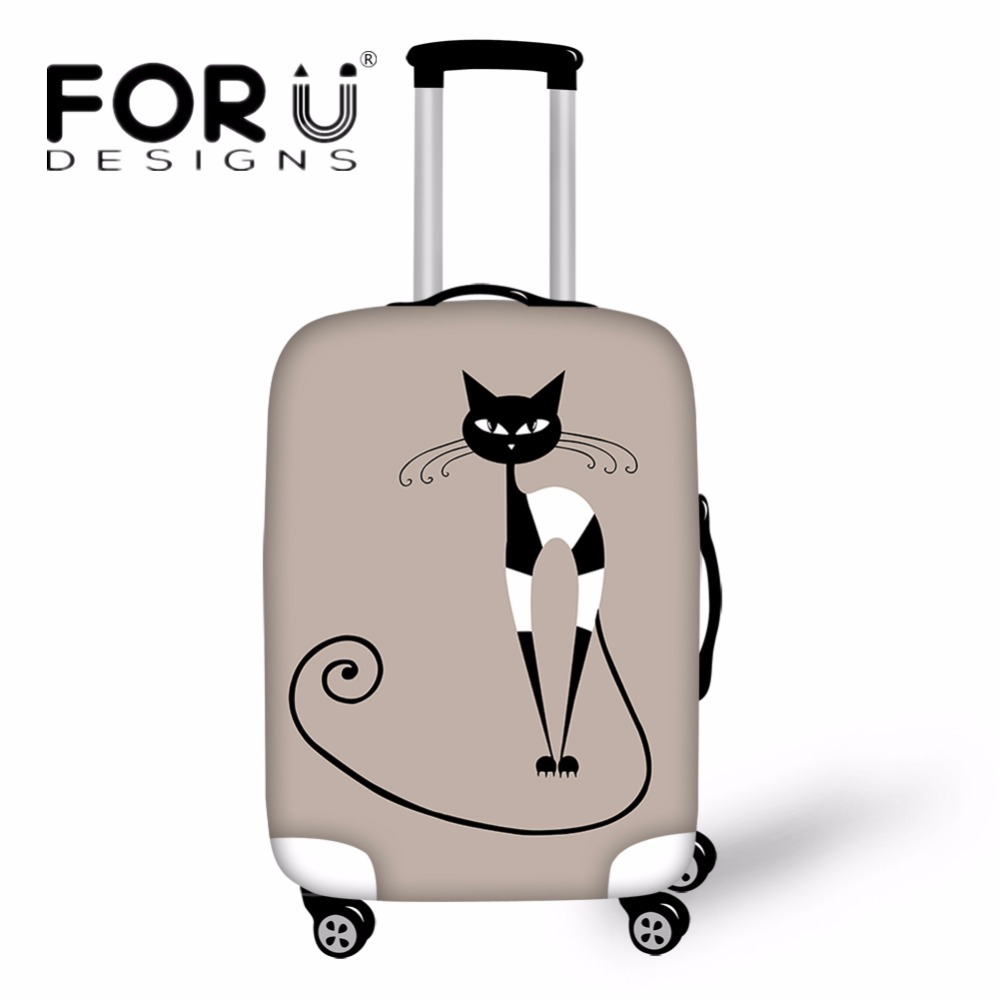 FORUDESIGNS Cute Cat Outline Pattern Luggage Protective Cover Spandex Waterproof Rain Cover For 18-30 Inch Trunk Case Suitcase